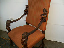 BIG 19TH CENTURY ITALAIN CARVED WALNUT BAROQUE CHAIR WITH CUPIDS AND SATYRS?