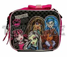 MONSTER HIGH LUNCH BOX! PINK BLACK GREY CHECKERED INSULATED SCHOOL BAG TOTE NWT