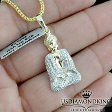 MINI YELLOW GOLD OVER STERLING SILVER REAL .25CT DIAMOND LUCKY BUDDHA NECKLACE