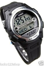W-756-1A Black Casio Men's Watch Resin Band 100M Alarm Digital World Time Light