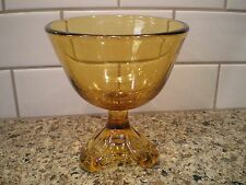 VINTAGE AMBER GLASS FOOTED PEDESTAL CANDY COMPOTE DISH