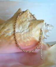 Sexy Rose Gold Crystal & .925 Sterling Silver Bead Ankel Bracelet 9 to 11 inches