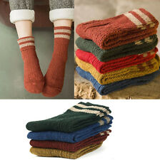 Women Xmas Bed Socks British Style Soft Cashmere Wool Socks Warm red HOme