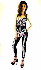 Jumpsuit Limited New Ladies Fashion Skeleton Catsuit Black Sexy Club Wear 8-10