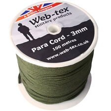 Web-tex - Heavy Duty 100m of 3mm Green Para Paracord Cord Utility Rope Reel Role
