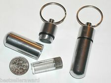 1pc.Pill Medicine extra bullet pendant tube bottle container screw top keychain