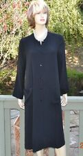 NWT $398 Eileen Fisher The Icons Silk Mandarin Collar Long Duster, BLACK ~ SMALL