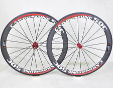 Carbon 700C Road bike wheels 50mm Clincher Bicycle white red Front Rear 23 wide