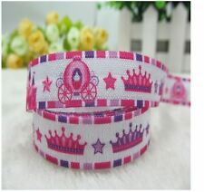 "1 meter, 16mm 5/8"" princess carriage crown printed FOE fold over elastic ribbon"