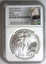 2016 American Silver Eagle Ase $1 ~ Early Releases 30 Ann Label Ngc Ms 70