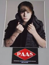 JUSTIN BIEBER Hand Signed 11'x14 Photo + PAAS COA *BUY GENUINE*