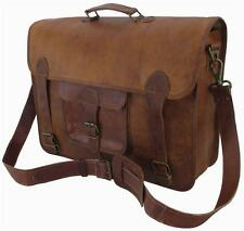"16""x12x6 Mens Vtg Genuine Leather Messenger Briefcase Laptop Tablet Satchel Bag"