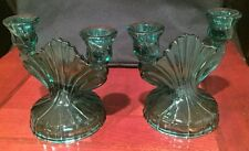 Pair of dual CANDLE HOLDERS and/or CANDY DISH--aqua glass--5.5 inches tall