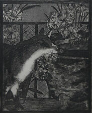 EDOUARD MANET-Important French Artist-Signed LIM.ED Etching- Cat with Flowers