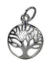 1 STERLING SILVER 925 TREE OF LIFE CHARM / PENDANT WITH JUMP RING, 13 MM