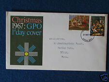 First Day Cover - Christmas 1967 - Stamped - Luton, Beds 27/11/67