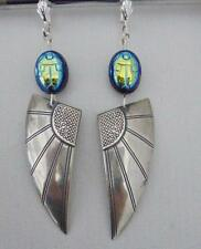 EGYPTIAN REVIVAL SCARAB  ART DECO/ART NOUVEAU/ BRIDAL  EARRINGS