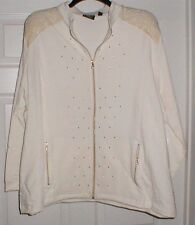 1X  ONQUE WOMENS IVORY WHITE GOLD SHOULDERS CARDIGAN JACKET GOLD MINI STUDS
