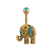 1PC Retro Gold Plated Rhinestone Elephant Barbell Button Piercing Navel Rings