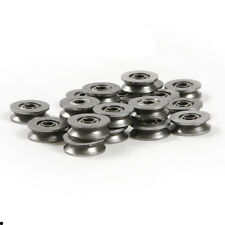 10pc V Groove 3mm x12mm x4mm Round Steel Wheel Pulley Ball Bearing Roller