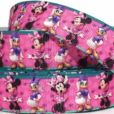 """GROSGRAIN RIBBON 7/8"""" Minnie Mouse & Duck SH MN7  Printed for Hairbows USA SELL"""