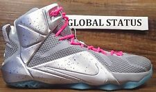 "NIKE ID MEN LEBRON 12 METALLIC SILVER PINK BLUE ""AIR MAG"" SHOES 799181 982 SZ 12"