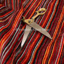 New Red Grey Black Multicolour Pencil Striped Pattern Chenille Upholstery Fabric