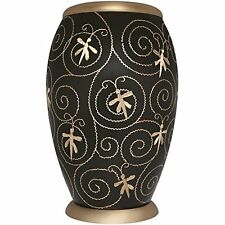 ADULT DARK GREY CREMATION URNS, LARGE NEW FUNERAL URN FOR HUMAN ASHES- GOLD