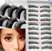 NEW 10 Pairs Natural Long Thick Black False Eyelashes Charming Eye Lashes Makeup