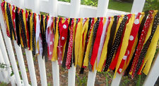 Rag Tie Garland Banner High Chair Birthday Party Photo Prop Mickey Mouse Colors