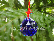 FENG SHUI - 5CM FACETED WATER ELEMENT BLUE HANGING CRYSTAL BALL TASSEL
