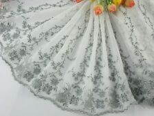 "9.5""*1yard delicate  embroidered flower tulle lace trim for DIY 0163"