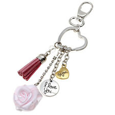 Fashion Mother's Day Gift Lettering I Love You Mom Rose Flower Tassel Keychain