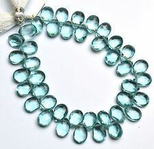 "Aquamarine Color Quartz 7x10MM Approx. Faceted Pear Shape Beads 7"" Strand"