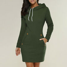 Womens Winter Hooded Hoodies Sweatshirt Casual Long Sleeve Sweater Jumper Dress