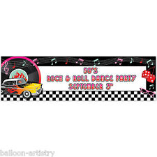 1.65m Classic 50's 1950's Rock Roll Personalisable Giant Party Sign Banner 50s