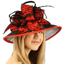 "Kentucky Derby Polka Dot Crystal 4"" Brim Floppy Feathers Ribbon Church Hat Red"