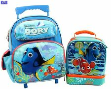 "Disney Pixar Finding Dory 12"" School Rolling Backpack Plus Lunch Bag 2PC Sets"