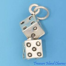 LUCKY PAIR OF DICE 3D .925 Solid Sterling Silver Charm NEW
