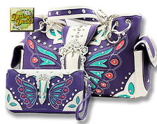 Western Butterfly Rhinestone Buckle Shoulder Side Pocket  Handbag Set