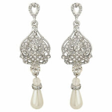 Crystal Bridal Earrings, Art Deco Crystal & Pearl Wedding Earrings, bride earrin