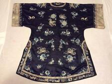 RARE ANTIQUE 19th c QI'ING CHINESE COURT LADY EMBROIDERED SILK ROBE EMBROIDERY!
