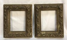Pair Antique Late 19th Century Ornate Dark Gold Frames 9 3/8 x 12 3/8 openings