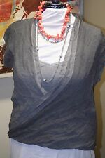 DNKY JEANS Sleeveless Drape Shirt with Tank Top L Gray Womens