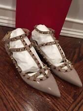 NIB Valentino Rockstud Patent Poudre Nude T Strap Cage Ballet Flats 40 $975