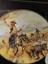 """1976 Kern Cowboy Artists Series CUTTING OUT A STRAY Ltd Ed Plate 11 3/4"""""""