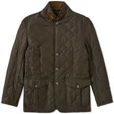 Barbour Men's Tailored Fit Quilted Lutz Dark Green Olive Jacket  Small