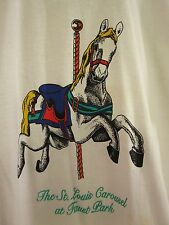 ST. LOUIS CAROUSEL large T shirt merry-go-round FAUST PARK hand carved horses