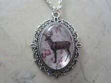 Black Shabby Chic Deer Stag Silhouette Silver Plated Necklace New in Gift Bag