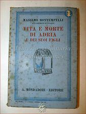 Massimo Bontempelli, VITA E MORTE DI ADRIA 1934 Libri Azzurri Mondadori Romanzo